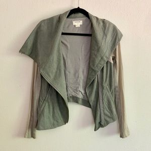Helmet Lang   Gray Cracked Leather Jacket Small